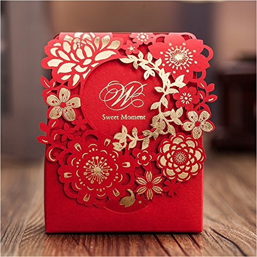 Since 50 X Red Sweet Wedding Candy Box 60pcs Gold Paper Laser Cut Flower Chocolate Gift Boxes as Wedding Favors