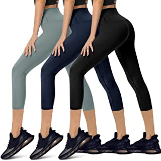 YOLIX High Waisted Capri Leggings for Women Tummy Control Soft Opaque Slim Tights for Cycling, Running, Daily