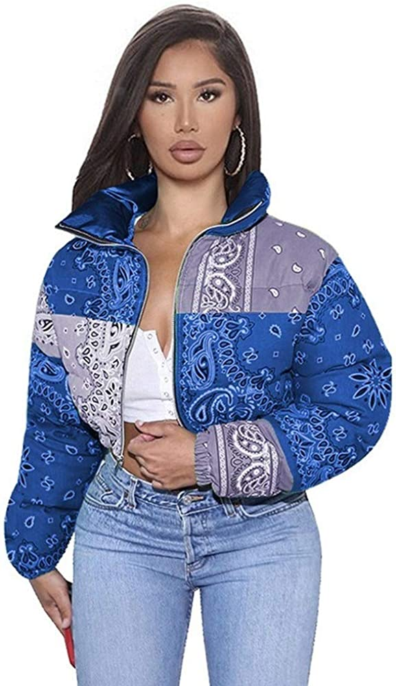 Women Shiny Short Puffer Bandana Printed Cropped Jackets Animer Ultra-Cheap Deals and price revision