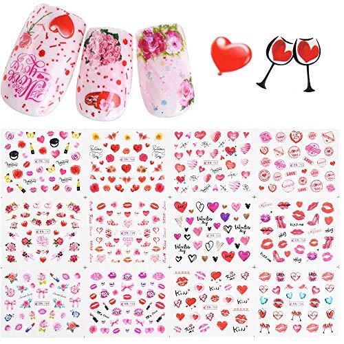 12 Design Valentine Nail Sticker Wassertransfer Aufkleber Wasserzeichen Slider Rose Lippenstift Ballon DIY Nail Art Tattoo Tipp