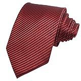 GASSANI Rote Krawatte 10cm klassische Breite gestreift | Herrenkrawatte Rot zum Sakko | Schlips Binder einfarbig mit Streifen
