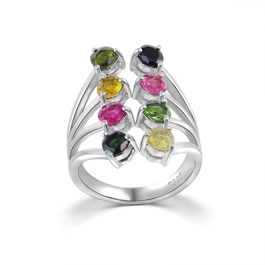 COLORFEY Gemston Rings Sterling Silver Semi-Precious Tourmaline Stone Adjustable Rings for Women