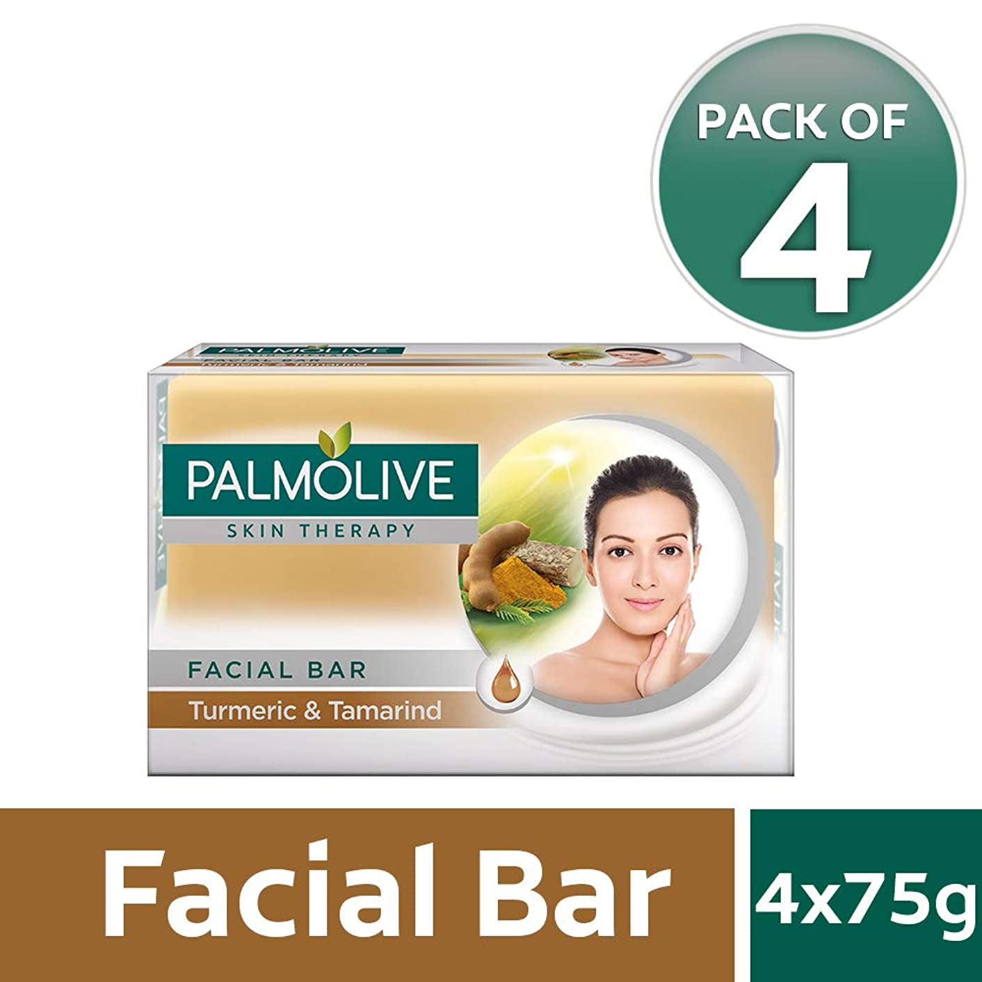 抽象化オーガニックアラブPalmolive Skin Therapy Facial Bar Soap with Turmeric and Tamarind - 75g (Pack of 4)