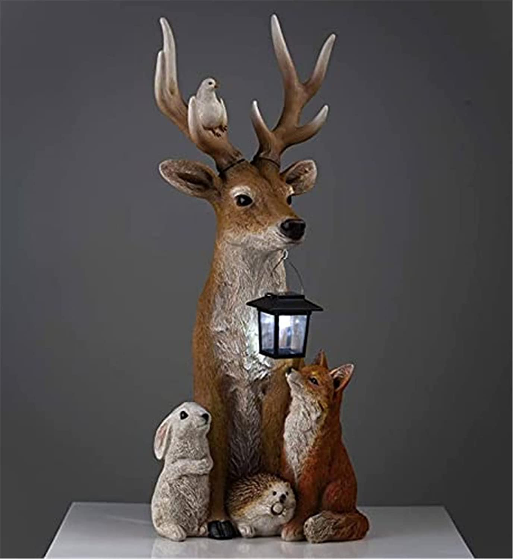 Garden Deer Statues Solar Lights, Deer and Friends Solar Holiday Figurin, Resin Deer Statue Sculpture Ornaments Animal Garden Statue Deer Models,Resin Cartoon Animal Sculpture Ornament for Home