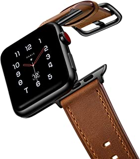 amBand Leather Band Compatible with Apple Watch 38mm 40mm 42mm 44mm, Genuine Leather Vintage Replacement Strap Classic Bands Buckle Compatible with iWatch Series 5/4/3/2/1