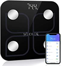 Wecolor Bluetooth Weighing Scale, Smart Body Fat Scale, Bathroom Weight BMI Scale, Body Composition Fitness Analysis Digital Scale with Smartphone APP