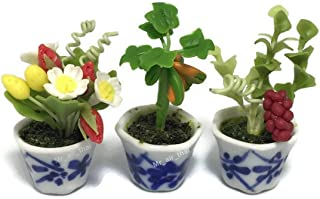 3pc Miniature Flower Clay Dollhouse Fairy Garden Mini Plant Trees Ceramic Paint Furniture Bundles Artificial Flowers Tiny Orchid #091