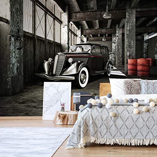 Oldtimer Garage Fototapete Fotomural - Wandbild - Tapete - 254cm x 184cm / 2 Teilig - Gedrückt auf 115gsm Muralpapier - 11895P4 - Autos & Transport