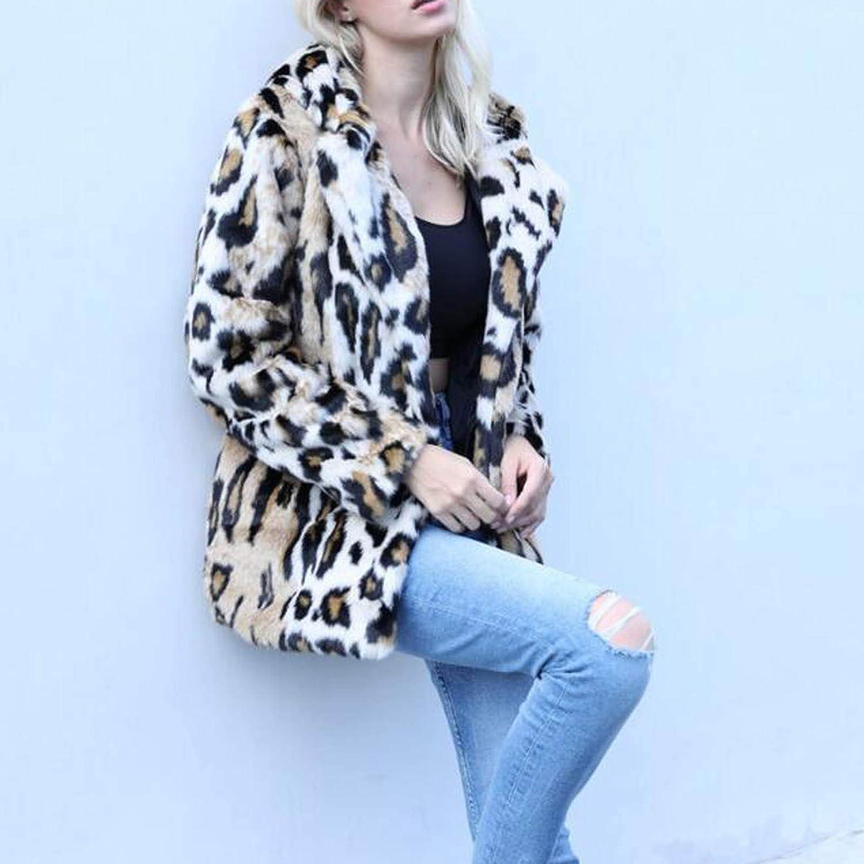 Okseas Women's Autumn Winter Comfortable Coat Casual Fashion Jacket Women Winter Warm Outwear Leopard Print with Ear Hood Pockets Vintage Oversize Coats Gelb