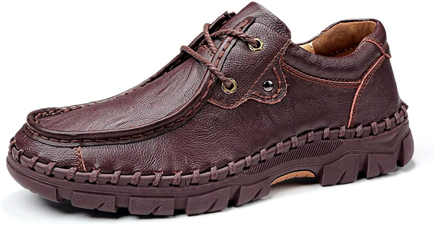 2019 Men's shoes Loafers Slip on Men's Fashion Business Work shoes, PU Leather Breathable Comfortable Loafers Lined Anti-slip Flat Lace Up Round Toe (color   DarkBrown, Size   10 UK)