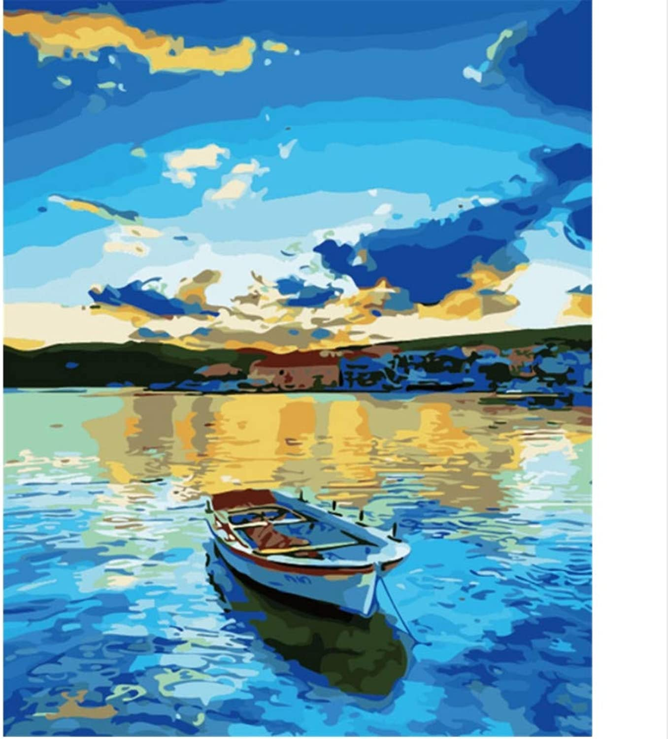 CAYYOU DIY Digital Painting By Numbers The Sea Boat Oil Painting Mural Kits coloring Wall Art Picture Gift  Framed  50x60cm
