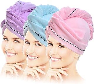 Para Mujeres Arco de agua fuerte Absorbente Toalla de Baño Secado De Cabello Envolvente Elástico Ajustable