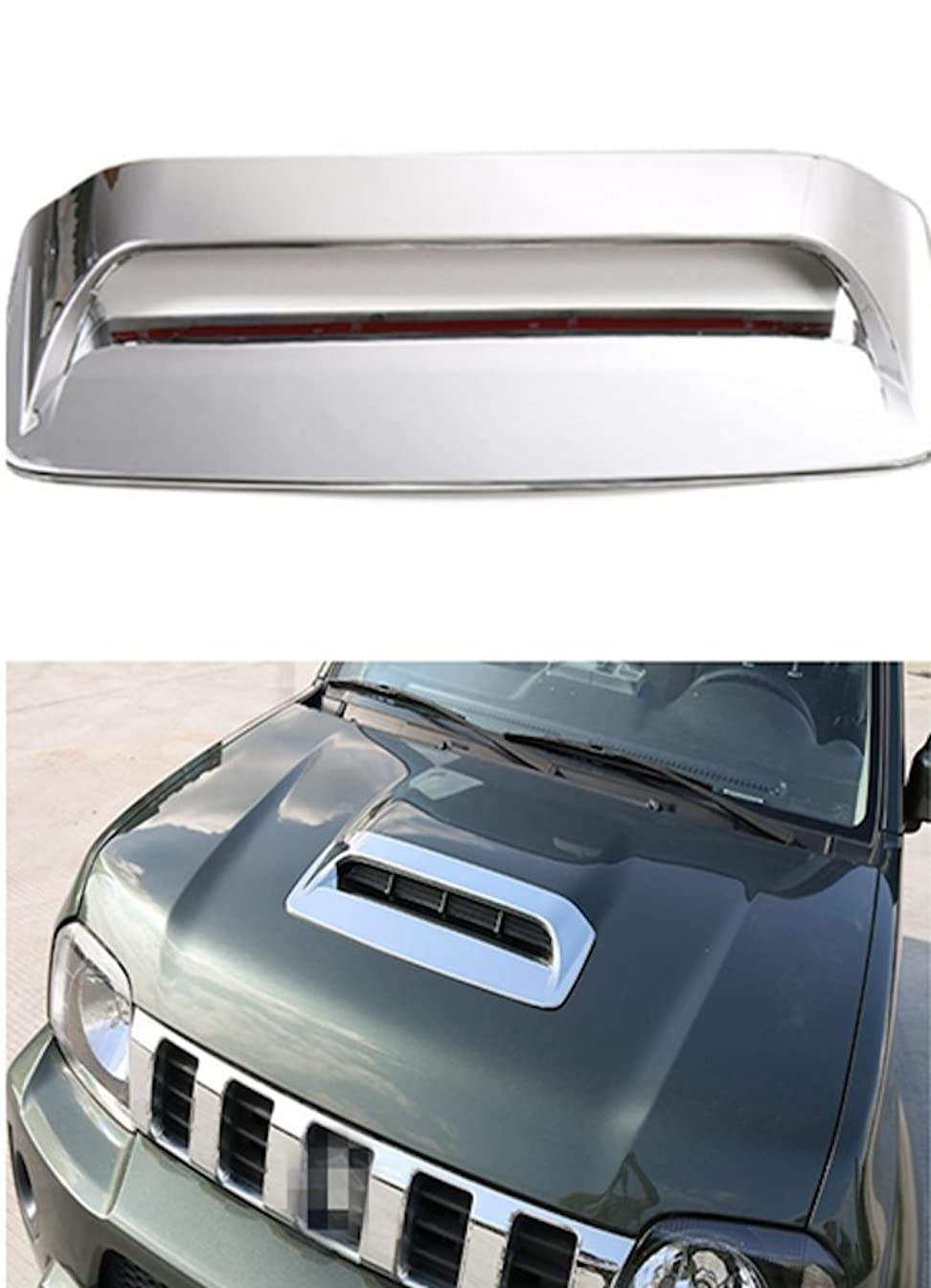 JDopption Chrome Car Styling ABS Air Flow Intake Scoop Vent Bonnet Hood Cover For SUZUKI Jimny 2007 Up