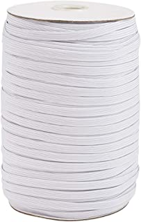 Kissitty 200 Yards White Flat Elastic Band 1/4 inch Wide Braided Stretch Strap Cord Roll for Sewing Crafting Making