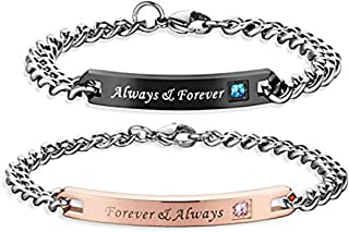 Couples Charm Bracelets Stainless Steel Chic Lovers Bangles