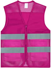 GOGO Unisex 2 Pockets High Visibility Zipper Front Breathable Safety Vest with Reflective Strips-Hot Pink-XL