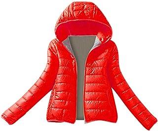 BODOAO Women Quilted Lightweight Jackets Casual Hooded Zipper Jacket Winter Warm Slim Coat