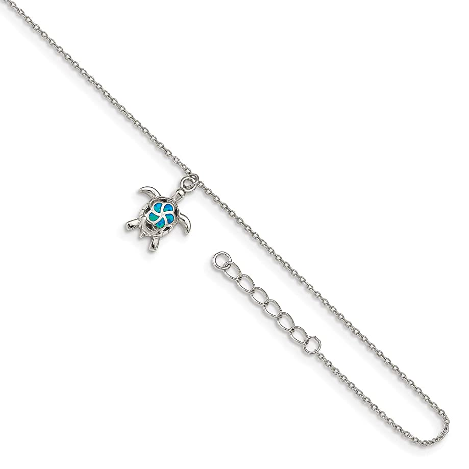 925 Sterling Silver Rhodium-plated Blue Created Opal Inlay Turtle Ankle Bracelet Anklet 9
