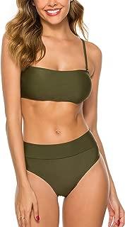 TRENDOUX Women's Bandeau Bikini High Cut Swimsuit Removable Straps Two Pieces Bathing Suit Waterproof-Phone-Pouch Gift