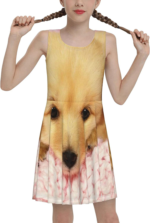 SDGhgHJG Cute Baby Dog Sleeveless Dress for Girls Casual Printed Lightweight Skirt