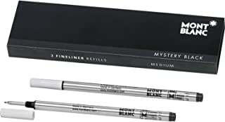 Montblanc Fineliner Refills (M) Mystery Black 110149 / Pen Refills for Fineliner and Rollerball Pens by Montblanc / 2 x Fiber Tip Pen Refill