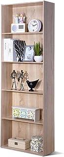 COSTWAY Librería con 5 Niveles Estantría Estante de Pie Almacenamiento Pra Archivos CD Libros Plantas y Fotos para Salón D...