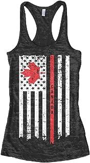 Threadrock Women's Canada USA Canadian American Flag Burnout Racerback Tank Top