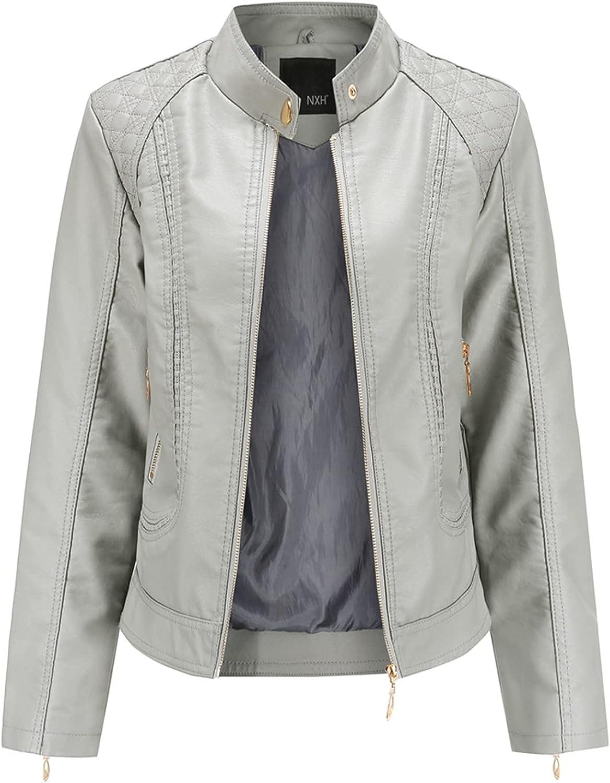 ZeniRuec Women Fashion Jackets PU Leather Long Sleeve Spring Autumn Tops Zipper Pockets Biker Coat Slim fit 5 Colors Grey-S