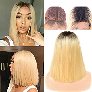 1b/613 Wig Bob Human Hair Ombre Straight Lace wig L Shape Swiss Lace Glueless Pre Plucked Bleach Knot Minddle Part For Women No Bang Same Day 8a Grade 10 Inch
