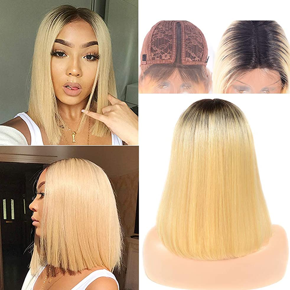 1b/613 Wig Bob Human Hair Ombre Straight Lace Front L Shape Swiss Lace Glueless Pre Plucked Bleach Knot Minddle Part For Women No Bang Same Day 8a Grade 10 Inch