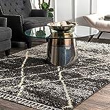 nuLOOM Jillian Moroccan Trellis Shag Area Rug, 4' x 6', Black