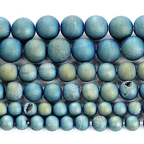 Piedra natural plateada azul sonrisa ágata encanto redondo cuentas sueltas para hacer joyas DIY collar pulseras Strand 6/8/10/12 mm H7084 10mm aproximadamente 38pcs