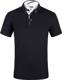 EAGEGOF Men`s Shirts Short Sleeve Tech Performance Golf Polo Dri-Fit Shirt Standard Fit