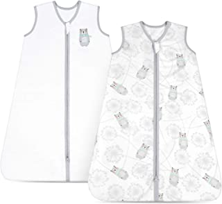 TILLYOU X-Large XL Breathable Cotton Baby Wearable Blanket with 2-Way Zipper, Super Soft Lightweight 2-Pack Sleeveless Sle...