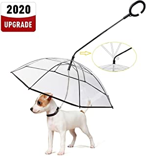 LESYPET Dog Umbrella with Leash, Pet Adjustable Umbrella for Small Dogs