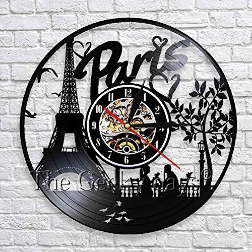 fdgdfgd Negro Retro CD Reloj París Decoración Torre París