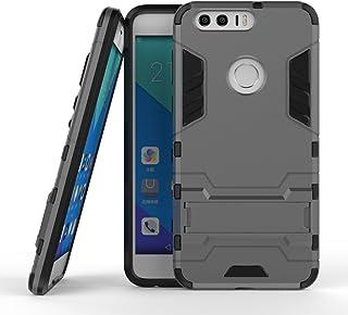 保護フォンケース 実用 Huawei Honor 8 OnePlus 3 LG X電源New 2 in 1 Iron ArmorタフスタイルハイブリッドデュアルレイヤーアーマーディフェンダーPCハードケーススタンド付き[耐震性ケース] (Color : グレー, Size : OnePlus 3)
