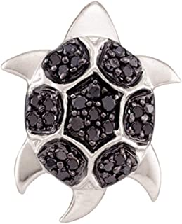 14k White Gold Black Diamond Turtle Pendant Tortoise Charm Fashion Style Polished Fancy 1/5 Cttw