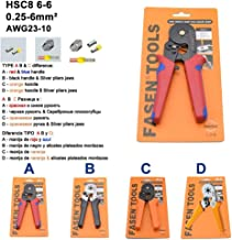 HSC8 6-4 6-6 0.25-6Mm 23-10AWG & 10S 0.25-10Mm 23-7AWG Crimp Pliers Tube Bootlace Terminals Crimping Hand Tools Wire Connector 6-6 A Red
