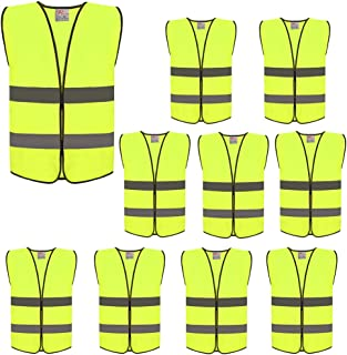 ZOJO High Visibility Safety Vests,Adjustable Size,Lightweight Mesh Fabric, Wholesale Reflective Vest for Outdoor Works, Cycling, Jogging, Walking,Sports - Fits for Men and Women (10 Pack, Neon Yellow)