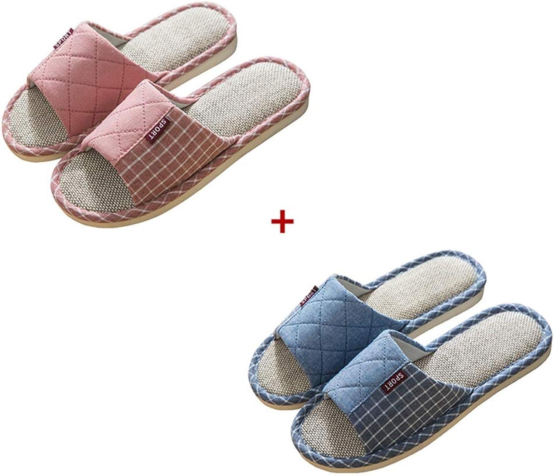 Tingting Hausschuh, 2 Paar Hausschuhe Paar Indoor Vier Jahreszeiten Baumwolle Baumwolle Baumwolle und Leinen leicht Weich und bequem Leicht zu reinigen (Farbe   rot+Blau 57, größe   39 40+44 45)  69fe1f