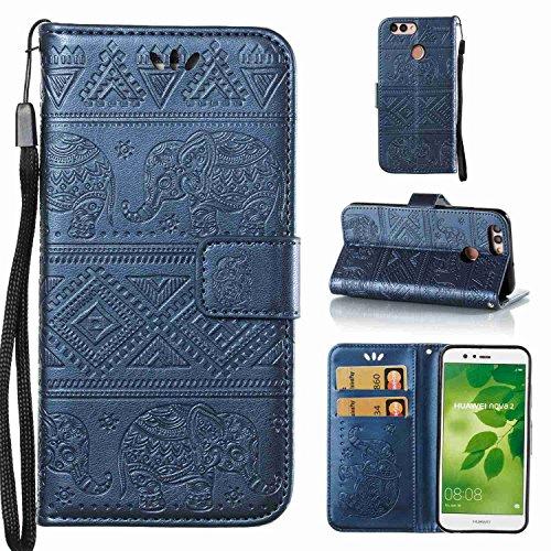 Schutzhülle Für Huawei Nova 2 , pinlu® Handyhülle Hohe Qualität PU Ledertasche Brieftasche Mit Stand Function Elefanten Muster Navy Dunkelblau