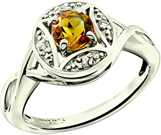 RB Gems Sterling Silver 925 Ring Genuine GEMS Round 5 mm Rhodium-Plated Finish Solitaire Style, Art Deco