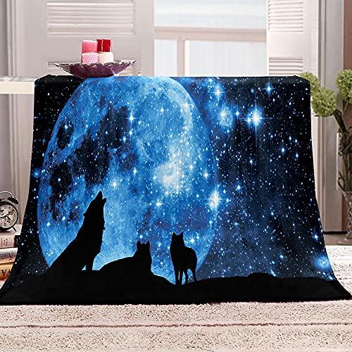 Lobo bajo la Luna Manta de Tiro Impresa Cielo Estrellado 3D Manta para niños Adultos Mantas de Lana con Franela Ligera Manta para sofá de Cama y Viaje 100x130cm