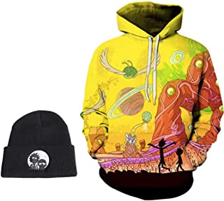 ZDesign Rick & Morty Hoodie Fleece W/Beanie Men Women Rick Hoodie & Beanie hat