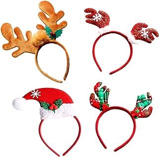 Christmas Headbands, Jeniulet 4 Pack Reindeer Antler and Santa Hat Headband Hats for Kids Adults
