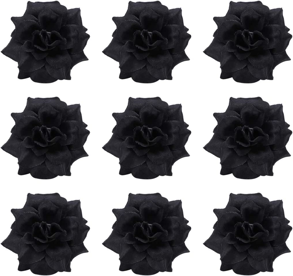 Tinksky Special price for a limited time 50pcs Silk Rose Flower Heads Blac Clothes Album Credence Hat