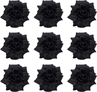 black fabric with flowers
