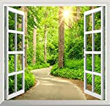 JJXBBL Carta da parati 3D con foto Strada forestale verde Finestra Luce del sole Natura Paesaggio per soggiorno Divano TV Backsplash-250cmx175cm