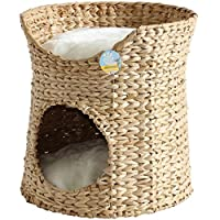 Me & My Pets Double Cat Bed - Circular igloo/tower style bed Twin inner cave/pod bed & top bed - Woven natural seagrass Great for kittens/cats & other small pets - Fixed woven non-slip base 2 plush removable cushions - Fully machine washable - Comfor...